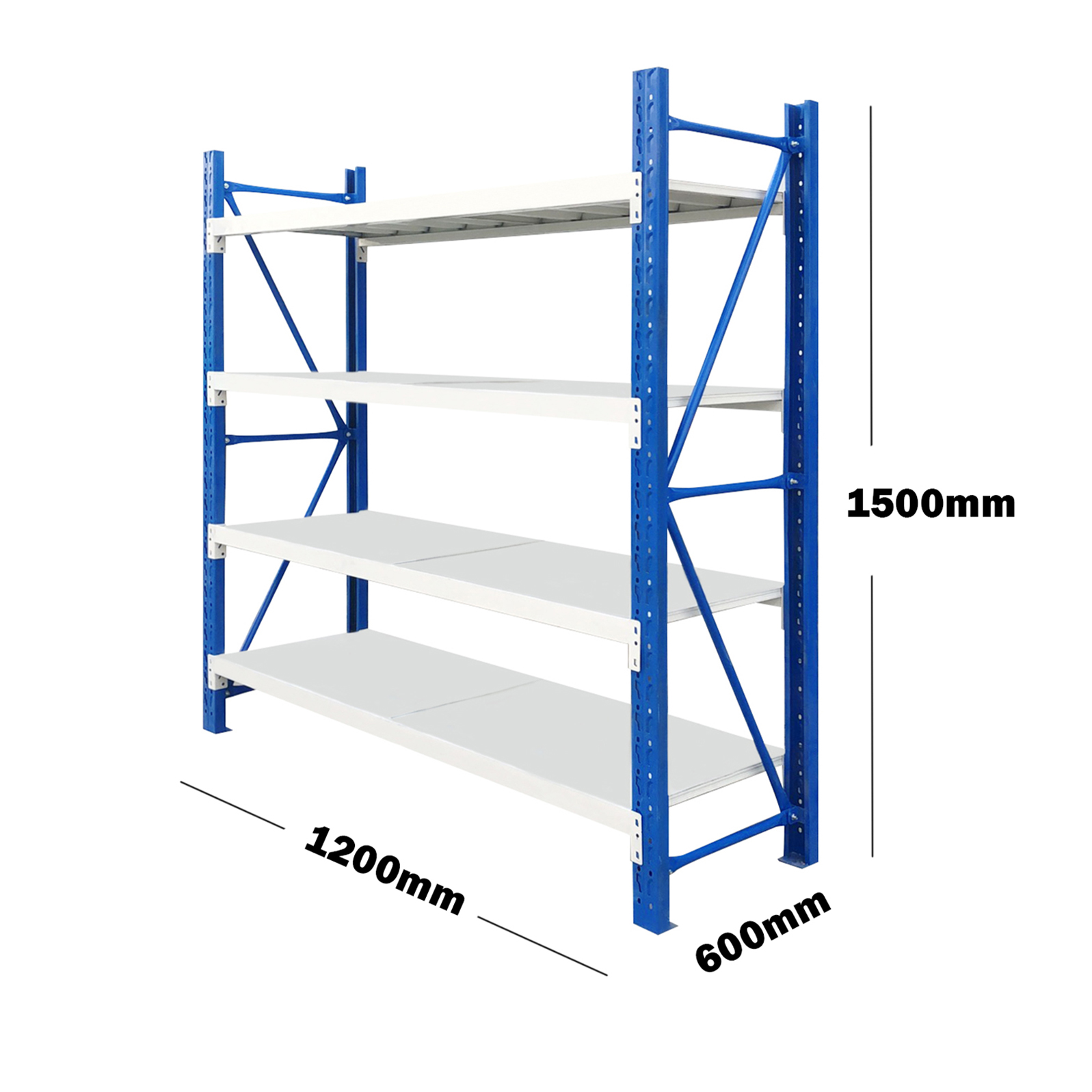 1.2M(L) x 1.5M(H) x 0.6M(D) Shelves Racking Metal Steel Blue & Grey 1215BG