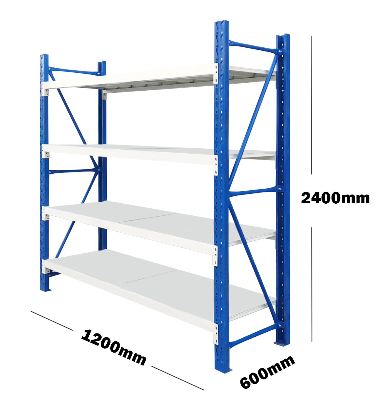 1.2M(L) x 2.4M(H) x 0.6M(D) Shelves Racking Metal Steel Blue & Grey 1224BG