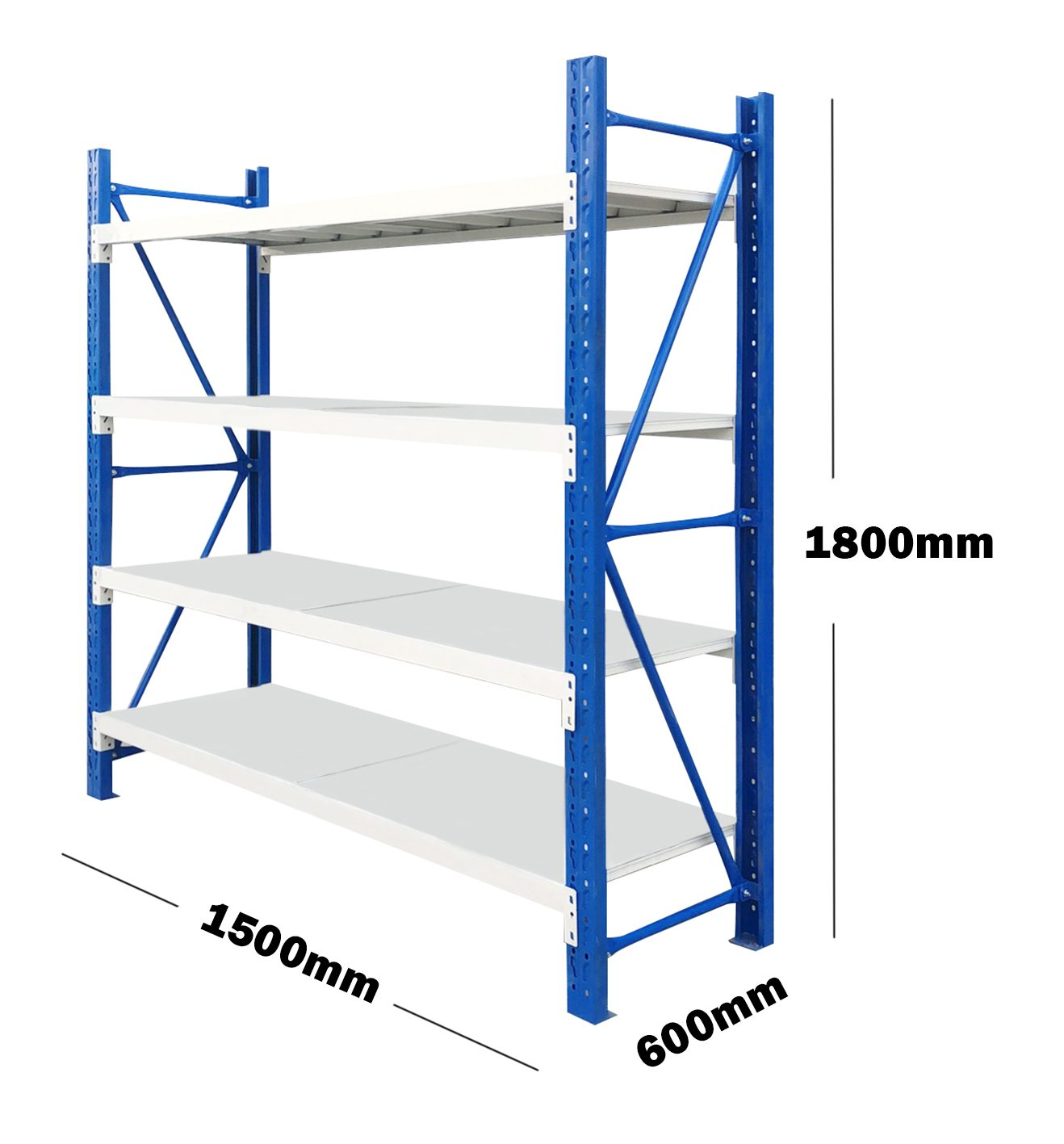 1.5M(L) x 1.8M(H) x 0.6M(D) Shelves Racking Metal Steel Blue & Grey 1518BG