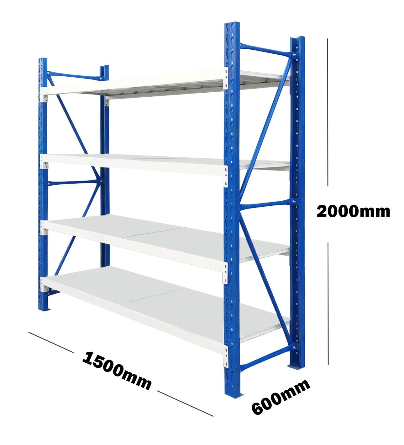 1.5M(L) x 2M(H) x 0.6M(D) Shelves Racking Metal Steel Blue & Grey 1520BG