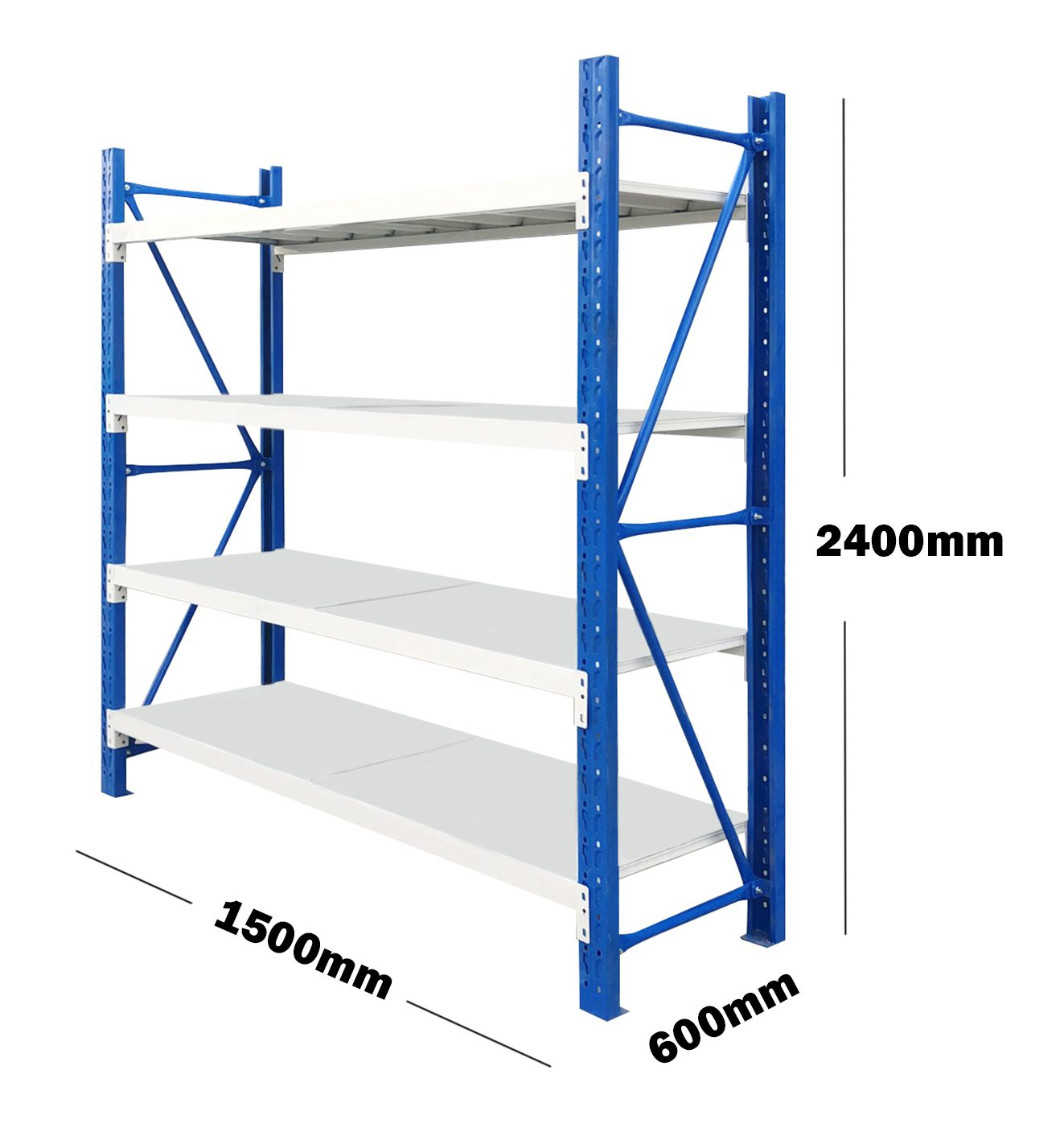 1.5M(L) x 2.4M(H) x 0.6M(D) Shelves Racking Metal Steel Blue & Grey 1524BG