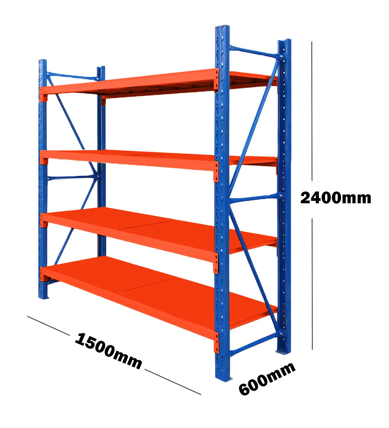 1.5M(L) x 2.4M(H) x 0.6M(D) Shelves Racking Metal Steel Blue & Orange 1524BO