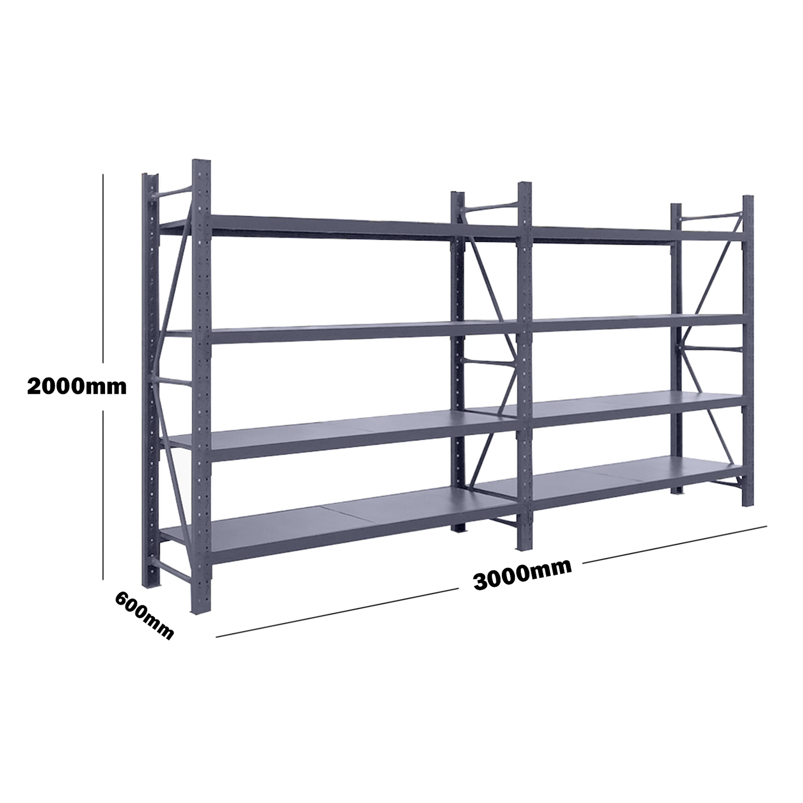 3M(L) x 2.0M(H) x 0.6M(D) Shelves Racking Metal Steel Charcoal 3020C