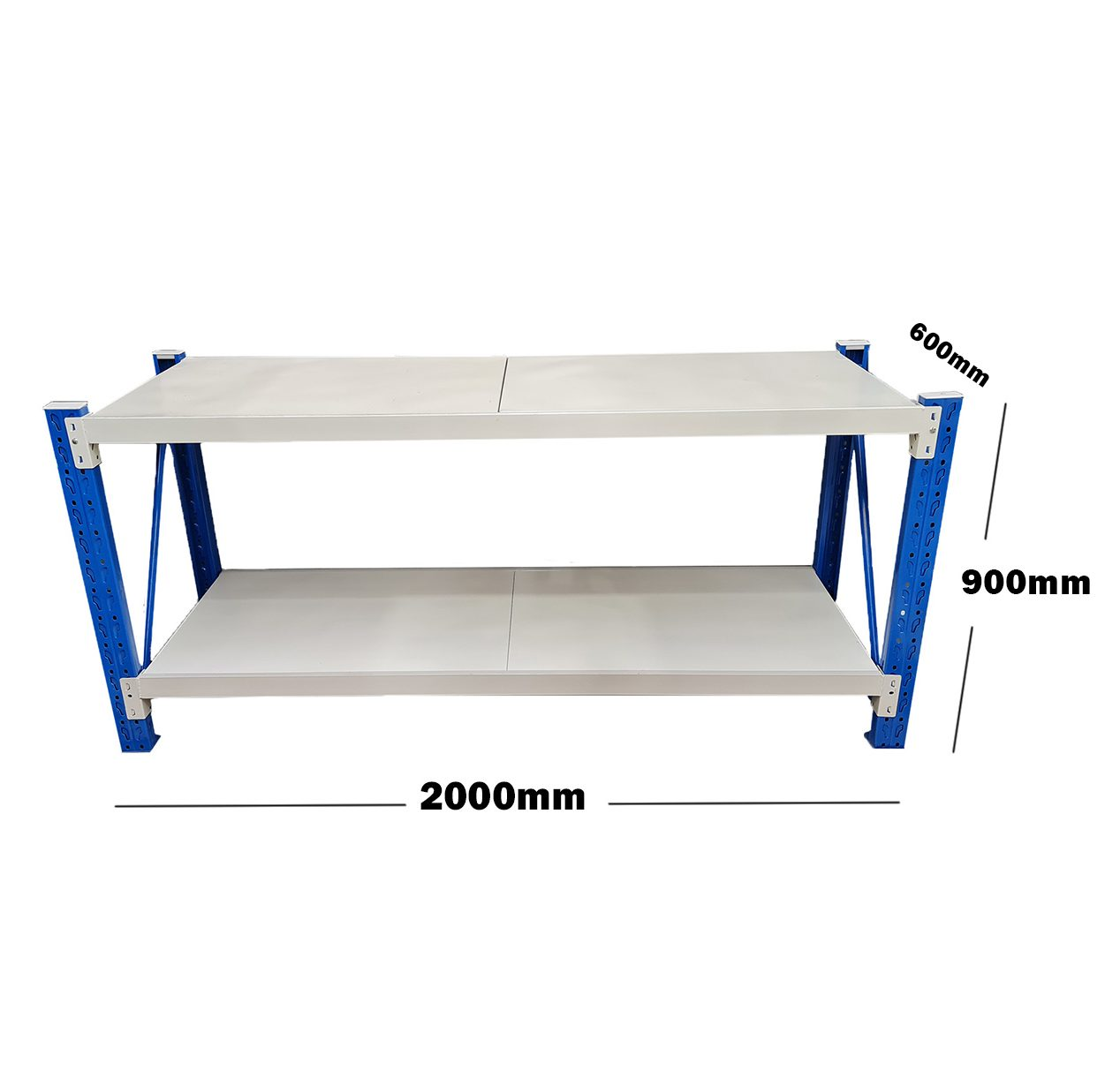 2M Heavy Duty Metal 2 Tier Workbench Unit Blue & Grey 6920BG