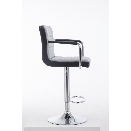 Black/Grey PU Leather Adjustable Swivel Bar Stool C5842J
