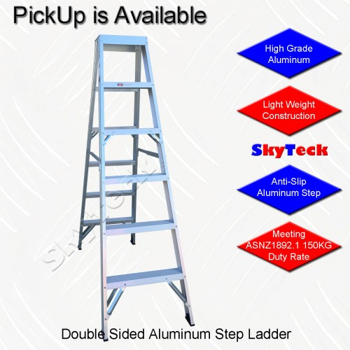 1.8M DOUBLE SIDED ALUMINIUM 6-STEP LADDER 150KG LS006