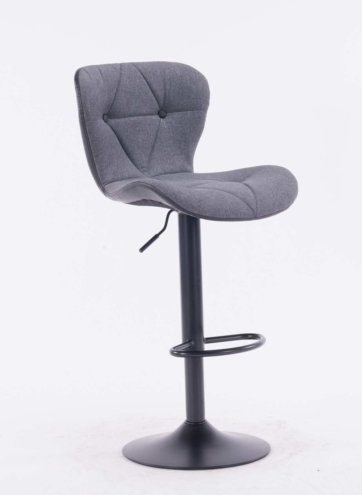 Grey Polyester Adjustable Swivel Bar Stool C866