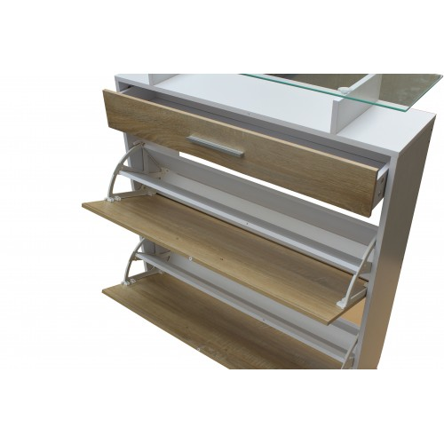 Multi-Compartment Drawer Shoe Cabinet Storage Rack With Glass Top KL009