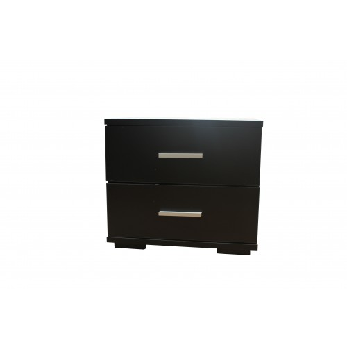 Compact Bedside Table With 2 Drawers Black KL003