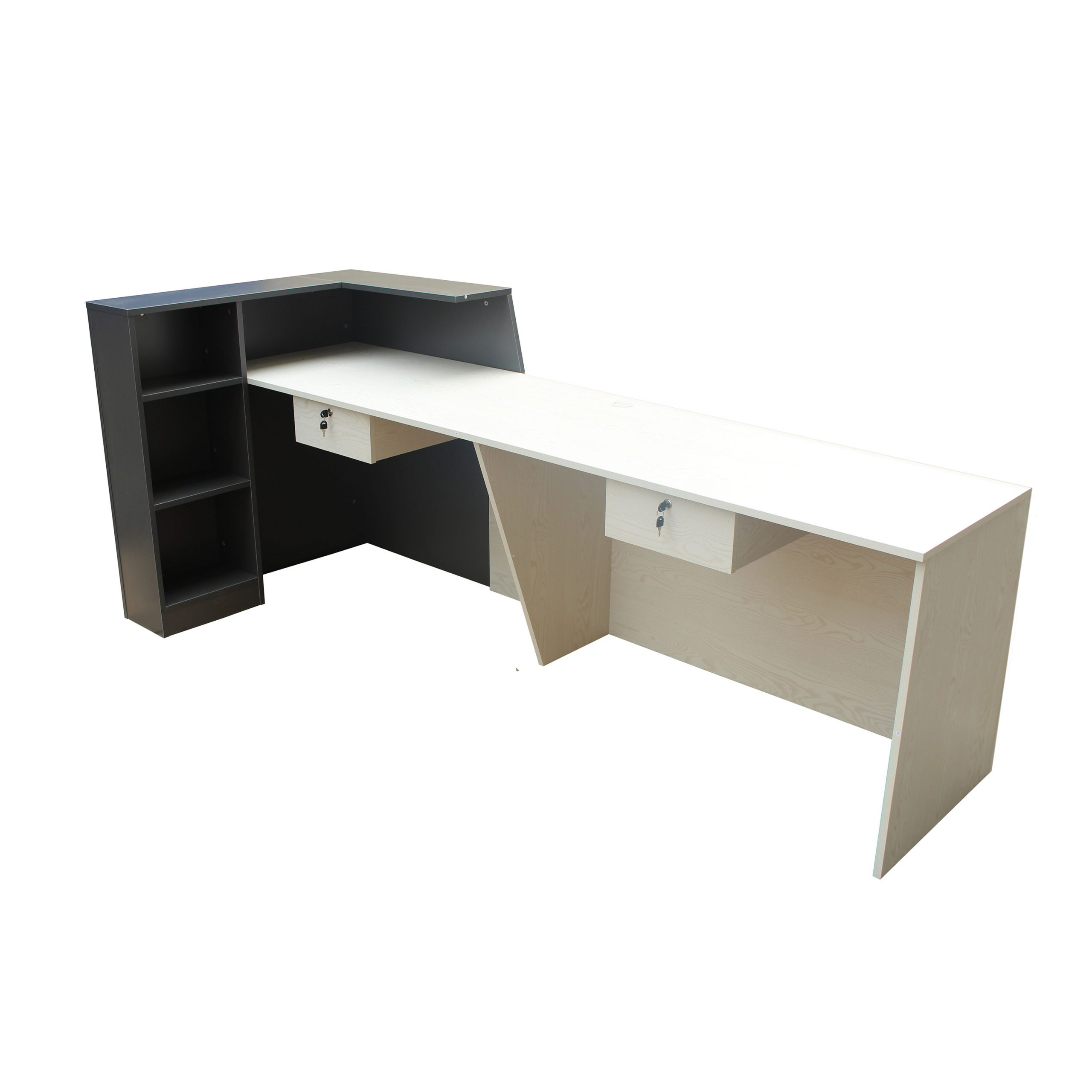 New Model White/Charcoal Reception Desk Counter 2.4M
