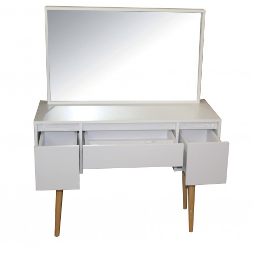 Compact Make-Up Dresser White Vanity Table with Mirror and Storage Drawers KL016