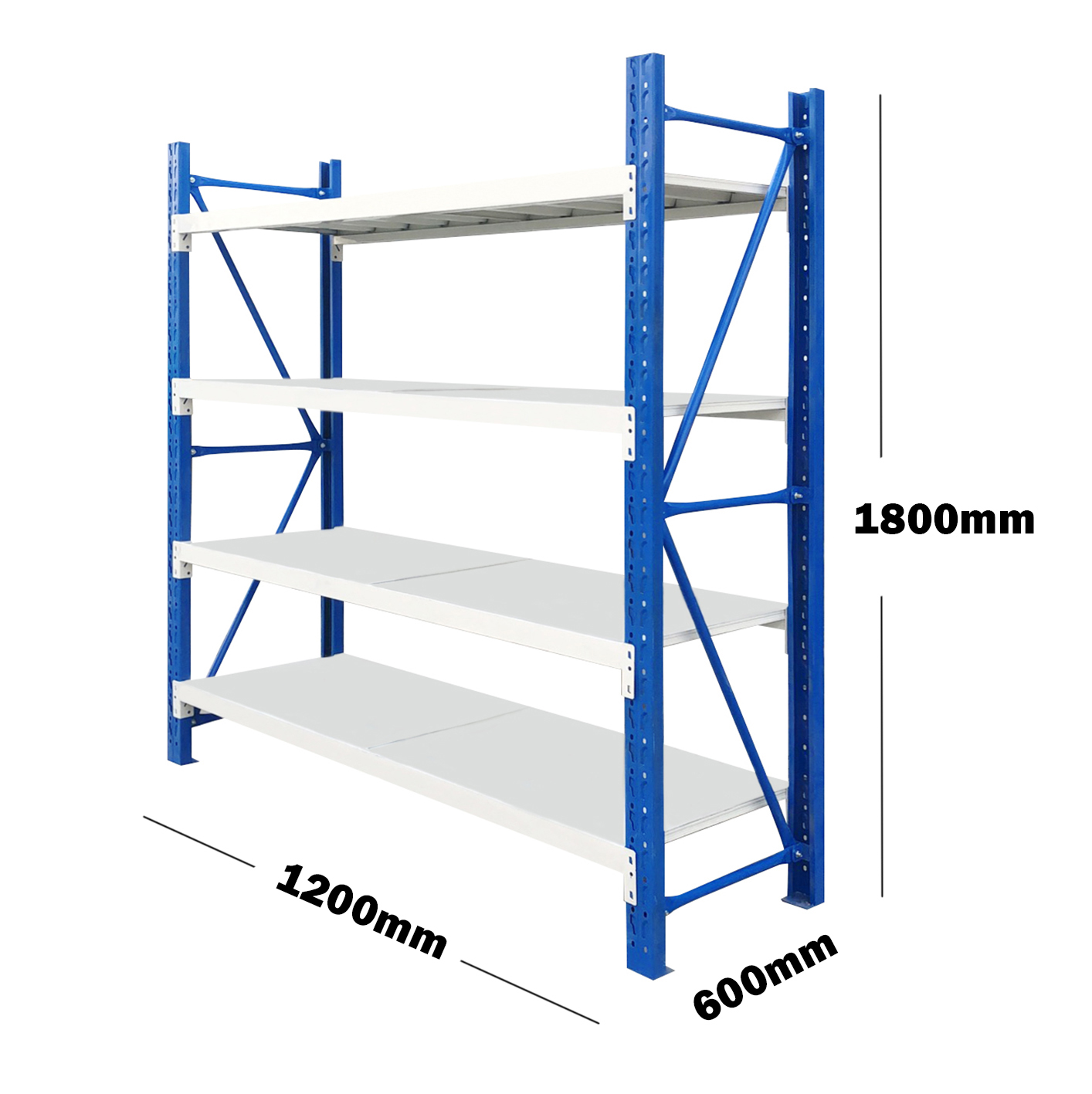 1.2M(L) x 1.8M(H) x 0.6M(D) Shelves Racking Metal Steel Blue & Grey 1218BG