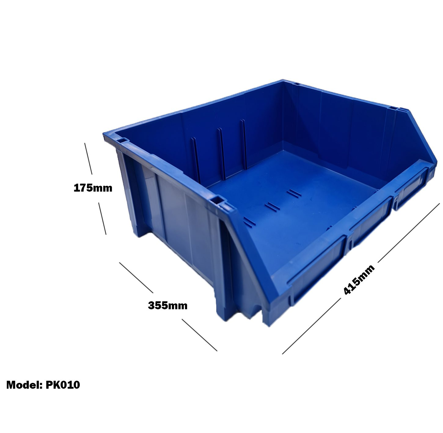 Blue Plastic Stackable Space Saving Storage Bin PK010