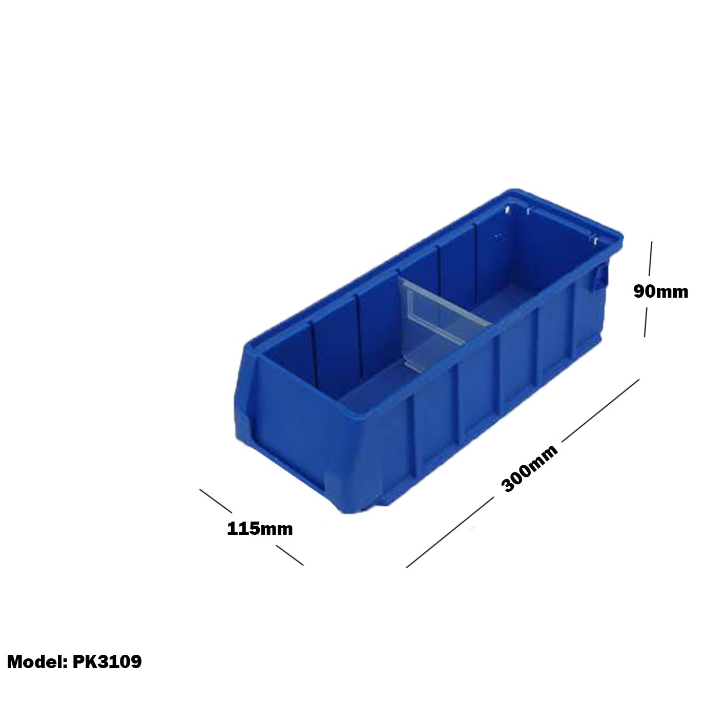 Blue Plastic Stackable Space Saving Storage Bin PK3109