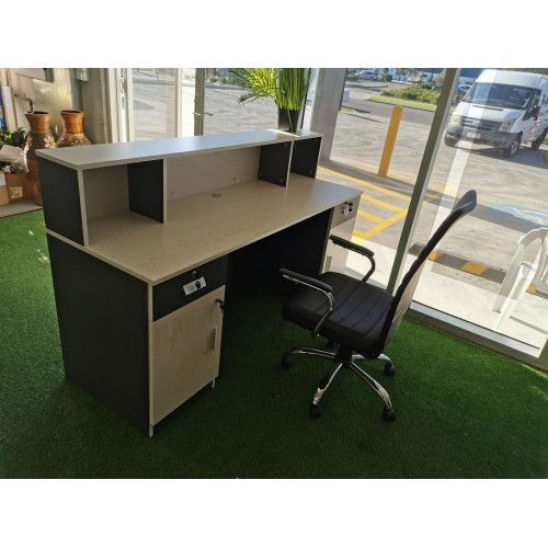 New Model White/Charcoal Reception Desk Counter 1.8m