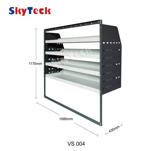 Metal Van Shelving 4 Tier Shelf Complete Unit 108cm x 117cm x 43cm VS004 (half leg)