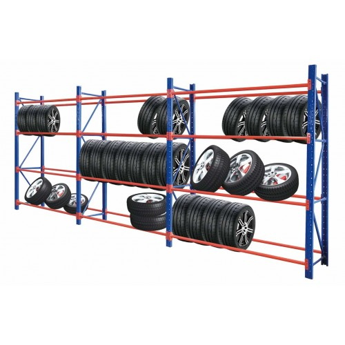 Heavy Duty Tyre Rack 6M x 2.4M Blue & Orange