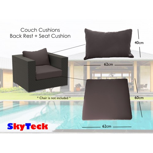 Grey Water-Proof Replacement Cushion Seat + Back Rest Cushion For Indoor/Outdoor Furniture