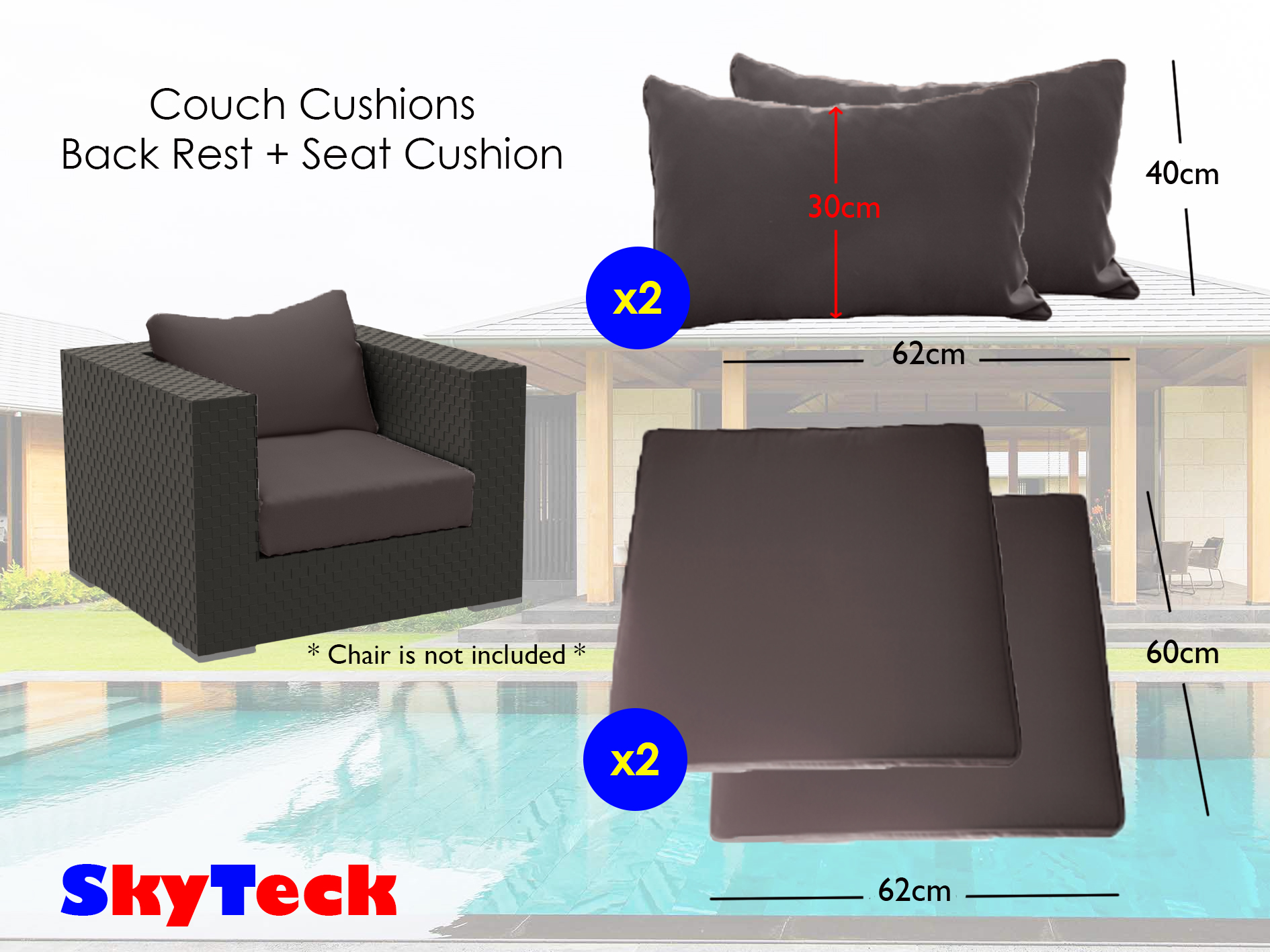 Twin Pack Grey Water-Proof Replacement Cushion Seat + Back Rest Cushion For Indoor/Outdoor Furniture