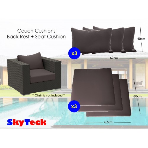 Triple Pack Grey Water-Proof Replacement Cushion Seat + Back Rest Cushion For Indoor/Outdoor Furniture