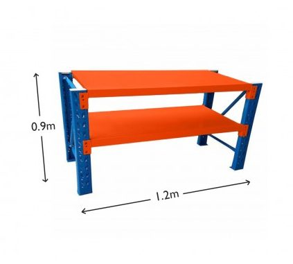 1.2M Heavy Duty Metal 2 Tier Workbench Unit Blue & Orange 6912BO
