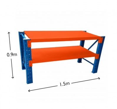 1.5M Heavy Duty Metal 2 Tier Workbench Unit Blue & Orange 6915BO