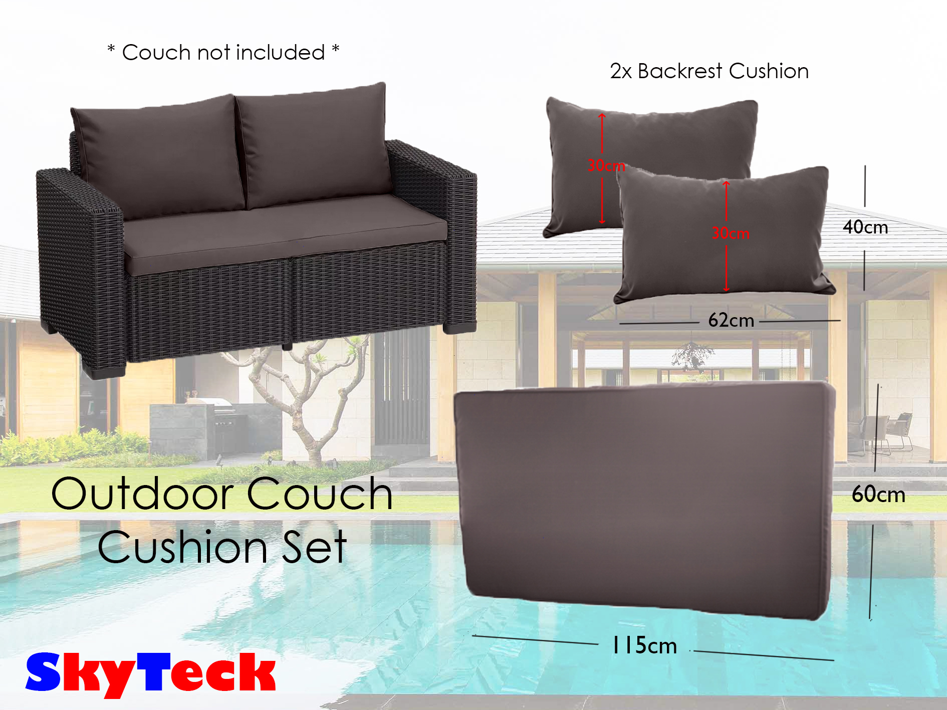 Grey Water-Proof Replacement Sofa Couch Cushion For Indoor/Outdoor Furniture