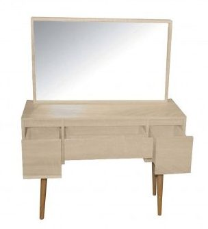 Compact Make-Up Dresser Oak Vanity Table with Mirror and Storage Drawers KL016T