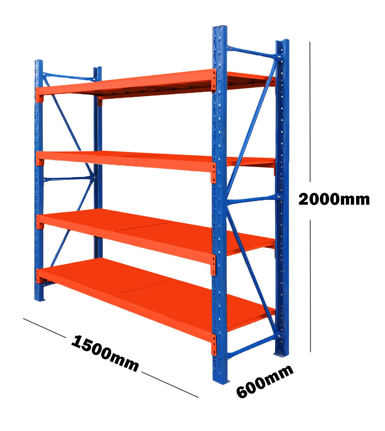 1.5M(L) x 2M(H) x 0.6M(D) Shelves Racking Metal Steel Blue & Orange 1520BO