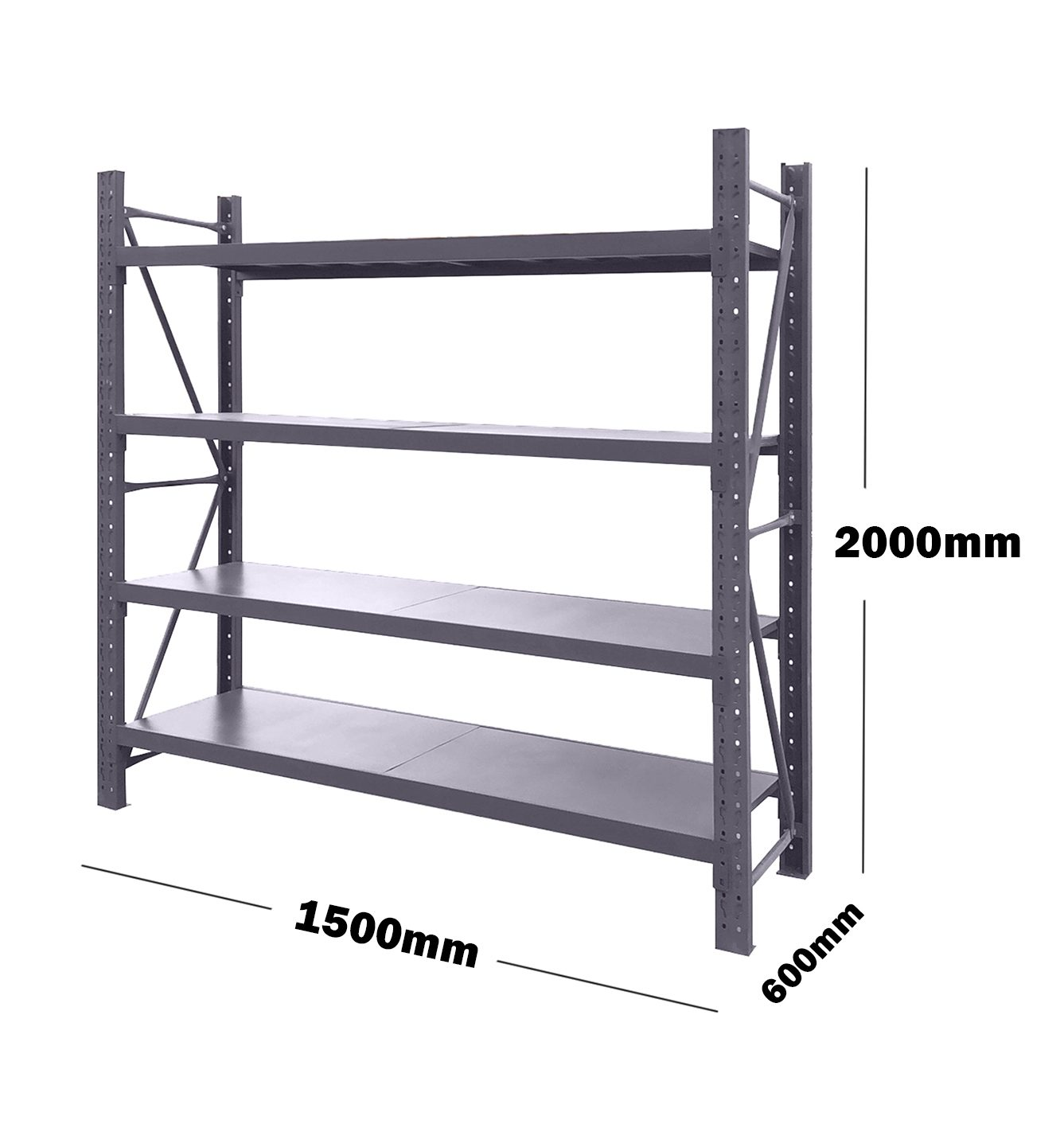 1.5M(L) x 2M(H) x 0.6M(D) Shelves Racking Metal Steel CHARCOAL 1520C