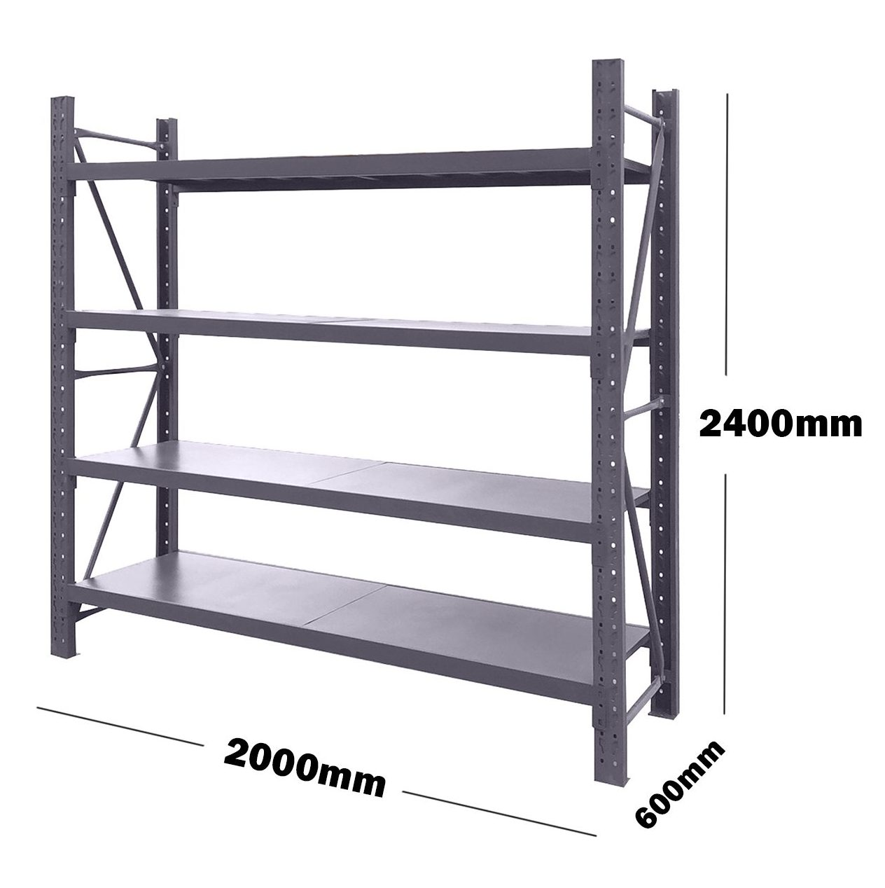 2M(L) x 2.4M(H) x 0.6M(D) Shelves Racking Metal Steel Charcoal 2024C