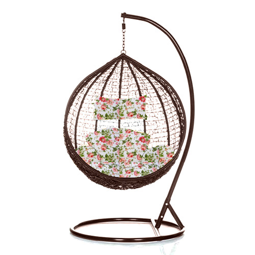 Brand New Outdoor Decor Hanging Swinging Egg/Pod Chair for Garden Home SW76B Brown Chair With Floral Cushion