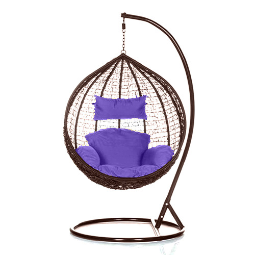 Brand New Outdoor Decor Hanging Swinging Egg/Pod Chair for Garden Home SW76B Brown Chair With Purple Cushion