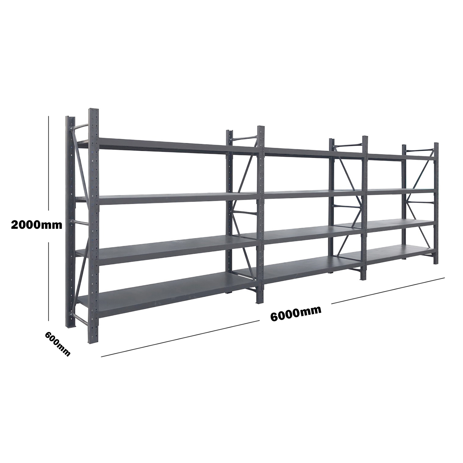 6M(L) x 2M(H) x 0.6M(D) Shelves Racking Metal Steel Charcoal 6020C
