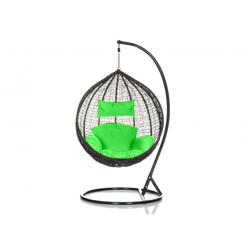 Brand New Outdoor Decor Hanging Swinging Egg/Pod Chair for Garden Home SW76K Black Chair With Green Cushion