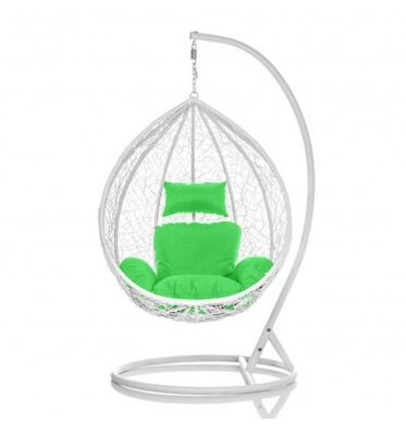 Brand New Outdoor Decor Hanging Swinging Egg/Pod Chair for Garden Home SW86W White Chair With Green Cushion