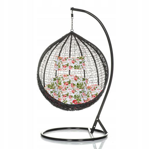 Brand New Outdoor Decor Hanging Swinging Egg/Pod Chair for Garden Home SW76K Black Chair With Floral Cushion
