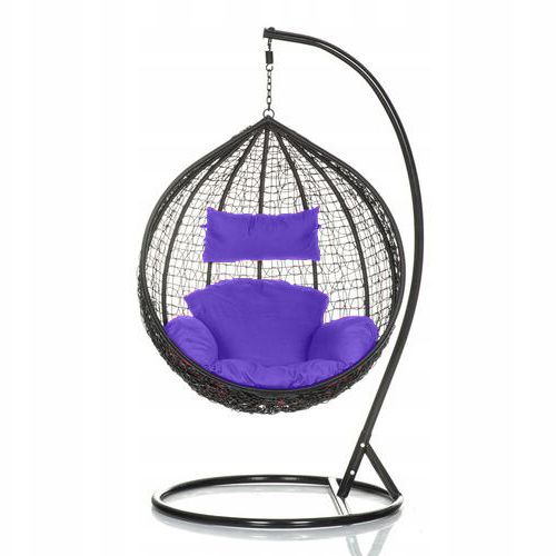 Brand New Outdoor Decor Hanging Swinging Egg/Pod Chair for Garden Home SW76K Black Chair With Purple Cushion