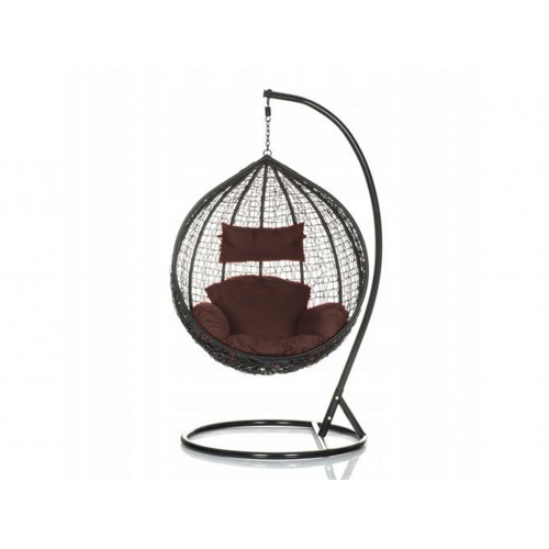 Brand New Outdoor Decor Hanging Swinging Egg/Pod Chair for Garden Home SW76K Black Chair With Brown Cushion