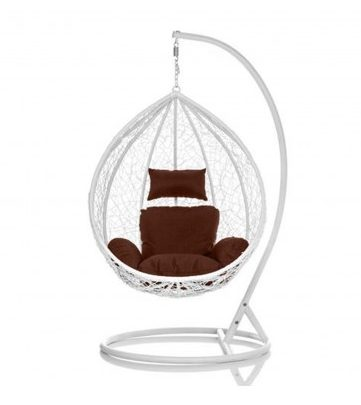 Brand New Outdoor Decor Hanging Swinging Egg/Pod Chair for Garden Home SW86W White Chair With Brown Cushion