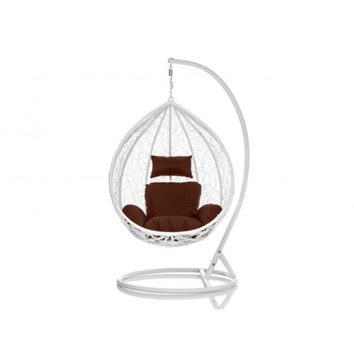 Brand New Outdoor Decor Hanging Swinging Egg/Pod Chair for Garden Home SW76W White Chair With Brown Cushion