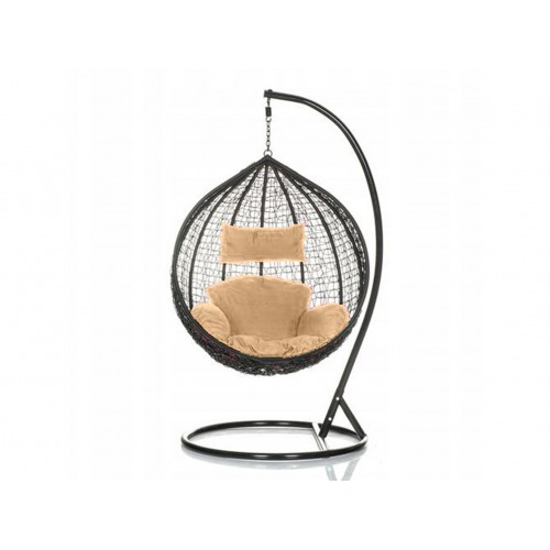 Brand New Outdoor Decor Hanging Swinging Egg/Pod Chair for Garden Home SW76K Black Chair With Cream Cushion