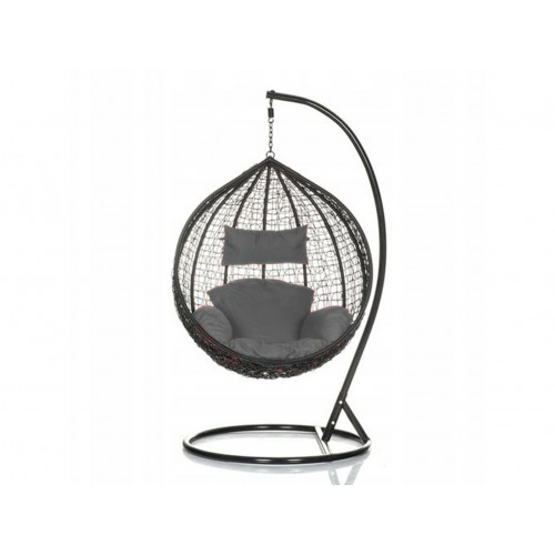 Brand New Outdoor Decor Hanging Swinging Egg/Pod Chair for Garden Home SW76K Black Chair With Grey Cushion