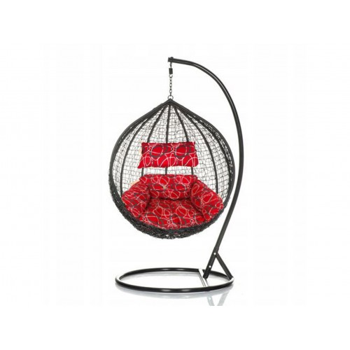 Brand New Outdoor Decor Hanging Swinging Egg/Pod Chair for Garden Home SW76K Black Chair With Red Oval Pattern Cushion