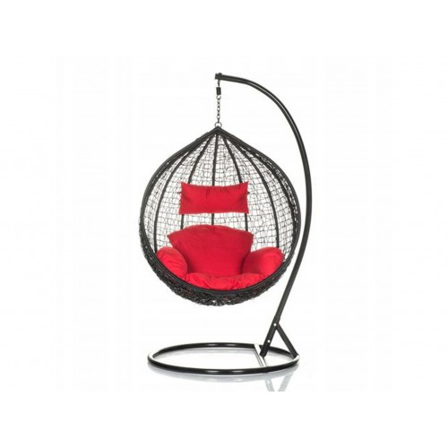 Brand New Outdoor Decor Hanging Swinging Egg/Pod Chair for Garden Home SW76K Black Chair With Red Cushion