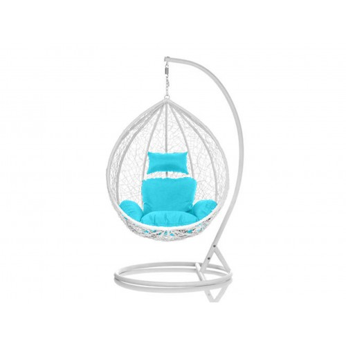 Brand New Outdoor Decor Hanging Swinging Egg/Pod Chair for Garden Home SW76W White Chair With Blue Cushion