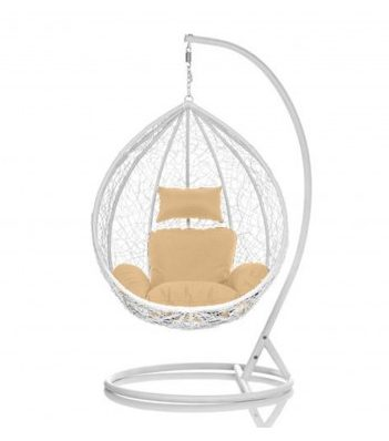 Brand New Outdoor Decor Hanging Swinging Egg/Pod Chair for Garden Home SW86W White Chair With Cream Cushion
