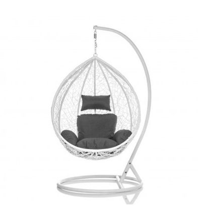 Brand New Outdoor Decor Hanging Swinging Egg/Pod Chair for Garden Home SW86W White Chair With Grey Cushion