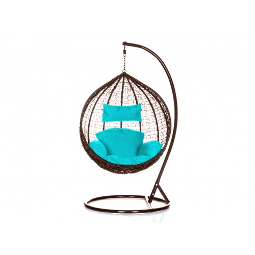 Brand New Outdoor Decor Hanging Swinging Egg/Pod Chair for Garden Home SW76B Brown Chair With Blue Cushion