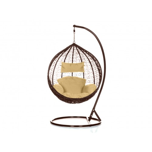 Brand New Outdoor Decor Hanging Swinging Egg/Pod Chair for Garden Home SW76B Brown Chair With Cream Cushion